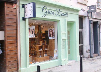 Devanture de la boutique Green Beauté au Havre
